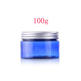 Wholesale blue cosmetic glass jars wholesale - 100g round blue color empty Plastic Cream mask PET bottles jars containers for cosmetic packaging skin care cream tin 100ml X 50