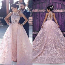 Wholesale Modern Baby Formal Gowns - Baby Pink Gorgeous Sheath Prom Dresses With Overskirts Lace High Neck Sheer 3D Appliques Lace Evening Dress Formal Celebrity Party Gown