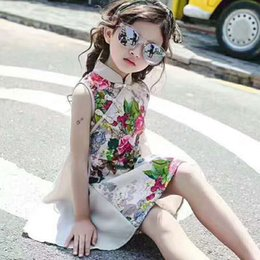Wholesale Red Lace Qipao - Girls Chinese Traditional Cheongsam Dress Floral Butterfly Printing Qipao