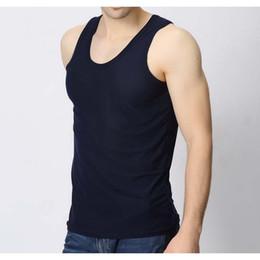 Wholesale Extra Slim Plus - Wholesale- 2pcs lot Summer New Plus Size Tank Tops Men Nylon Cotton Slim Pure Color Vest Man XL EXTRA LARGE Singlet sleeveless shirt