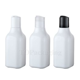 Wholesale Empty Shampoo Bottles - Wholesale- 30PCS-200ML Press Screw Cap Bottle,White Plastic Cosmetic Container,Empty Serum Sub-bottling,Sample Shampoo Bottle,Square Bottle