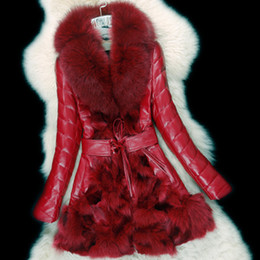 Mangas de cuero parka de las mujeres online-de las mujeres de lujo genuina piel de oveja real natural de piel de zorro remiendo de la manga larga fajas de la cintura delgada de pato abajo cubren la parka medio largo