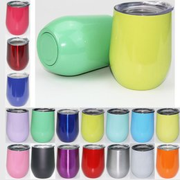 Wholesale Double Mug - 9oz Stemless wine cups 24 Colors Stainless Steel Double Layer wine Beer Mugs Powder Coated Drinkware With Lids egg cupss