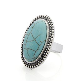 Wholesale tibet silver natural stone rings - Ancient Silver Natural Stone Big Ring For Women Bohemian Boho Punk Finger Ring Fashion Jewelry Party Gift