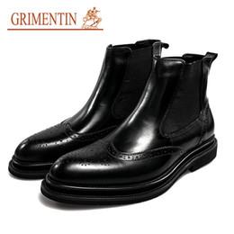 Botas italianas hombres botas online-GRIMENTIN 2019 Nueva venta caliente marca de lujo para hombre botas de cuero genuino italiano botines masculinos diseñador formal hombres de negocios zapatos moda CG10