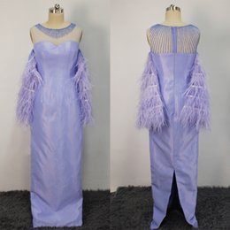 Wholesale Evening Dress Feathers Sleeves - 2017 Real Images Celebrity Evening Dresses Lavender Feather Sleeves Sheer Beaded Jewel Sheath Floor Length Bridal Gowns