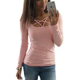 Wholesale Long Sleeve Tunic Top Wholesale - Wholesale- Spring Autumn Women T shirt Long Sleeve Hollow Out Spaghetti Strap Slim Fit Solid Crop Top Tee Shirt Femme Blusas Tunic LJ4515U