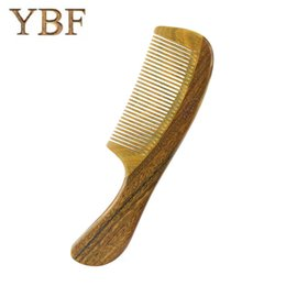 Wholesale Green Natural Products - YBF Hair Care Products Health Popular Natural Massage Green sandalwood Handle Hair Wooden Combs Detangling Gift Brushes Brochas