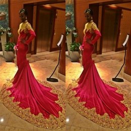 Wholesale Custom Designers For Prom Dresses - African Designer Gold and Red Prom Dress Long Sleeve High Neck Lace Evening Dresses For Black Girls Party Wear 2K17