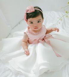 2019 matrimonio battesimo Abito da damigella d'onore della principessa Bowknot di festa del partito del vestito da partito vestito da battesimo del battesimo abito convenzionale di Sequined vestito di natale sconti matrimonio battesimo