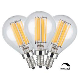 Wholesale Medium Base Led Light Bulbs - 6W Dimmable Edison Style Antique LED Filament Globe Light Bulb 3200K Soft White 600LM E12 E26 Medium Base Lamp G14(G45) Clear Glass Shape