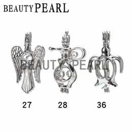 Wholesale Penguin Loves - 10 Pieces Wholesale Love Pearl Pendant and Cage Mixed Bird Lamp Penguin Wish Locket Cages Jewelry