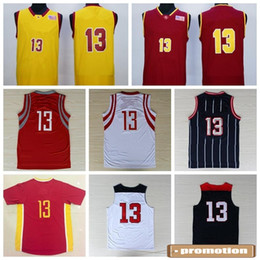 Wholesale Men S Chinese Shirts - Men #13 Chinese Basketball Jerseys Cheap Red Pride Clutch City Retro Basket ball Sport Shirt 2014 Dream Team Wear Player Name Team Logo