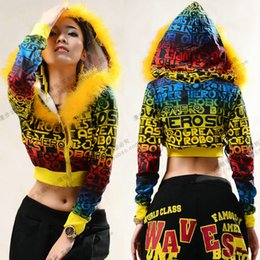 Wholesale Dance Costume For Jazz - Wholesale- 2016 Best quality female hip hop ds costumes ultra-short long-sleeve letter doodle print jazz dance outerwear for women