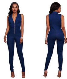 daaba0caa8 New Arrival Jeans Women Denim Jumpsuits   Rompers Fashion Deep V Slim  Sleeveless playsuits Overalls Street Style Bodysuit jumpsuits street style  on sale
