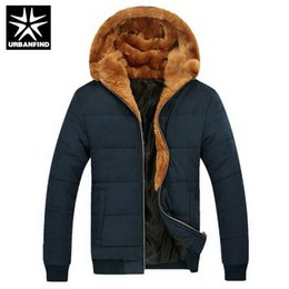 Хаки паркас онлайн-Wholesale- Russian Winter Men Thick Fur Down Coats Male Warm Outerwear Big Size M-3XL Zipper  Man Ourdoor Hooded Parka Khaki / Blue