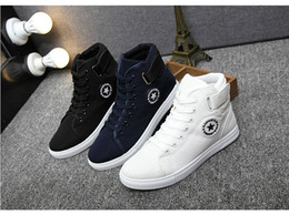 Wholesale Female Footwear - Men Women canvas shoes for 2017 spring and autumn female High-top pure black classic casual shoes footwear size 39-44