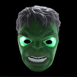 Wholesale Hulk Masks - LED Mask Children Halloween Masks Flash Glowing Lighting Mask Avengers Hulk Captain Party Adult Boy America Gift Masquerade