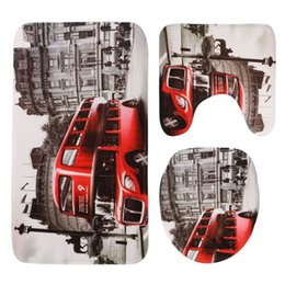 Wholesale London Carpet - Wholesale-Europe and America style bathroom toilet 3pcs set London bus Venice Statue of Liberty printing the floor mat carpet mat