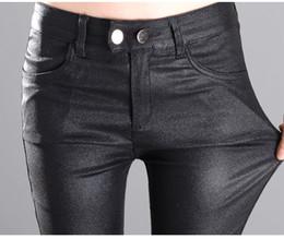 Wholesale Black Women Pu Leather Pants - Fashion 2016 New Summer Women's Tight PU Leather pants black Elasticity Slim Pencil Pants Trousers For Women Plus Size