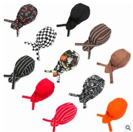 Wholesale Beanie Hat Pirate - Striped Plaid Skull Caps 2017 Fashion Top Quality Colourful Pirates Chef Cap Skull Cap Professional Catering Various Chef Hats Caps 480