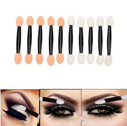 Wholesale Plastic Ends - New Eyeshadow Applicator Sponge Double Ended Make Up Supplies Portable Lipliner Brushes Nail Mirror Powder Brush