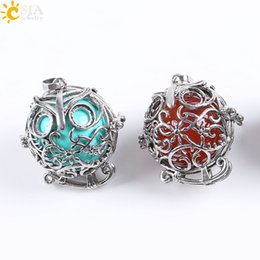 Wholesale Jade Beads For Men - CSJA Vintage Silver Openable Locket Charm Necklace Pendants Owl Bird Cage Round Natural Stone Bead Ball Jewelry for Men Women Gift E683