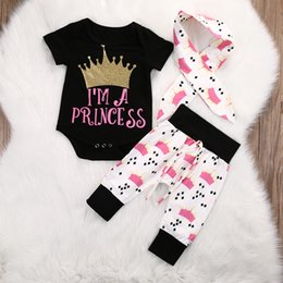 Wholesale Newborn Girls Leggings - INS Newborn Baby Girl Crown Clothing Set Cute Kids Baby Girls Tops Rompers+Pants Leggings 3pcs Outfits Set Twinset Boutique Clothing C001