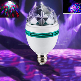 Wholesale Magic Jumps - E27 3W RGB LED Laser Stage Light Crystal Magic Ball Roating wedding Lamp for KTV Party DJ Disco House Clubs