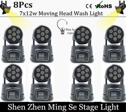 Wholesale Moving Head Light Rgbw Cree - Wholesale- Fast shipping 8pcs lots CREE 7x12W RGBW quad mini led wash moving head light LED stage lights Mini LED Moving Head 14 channels
