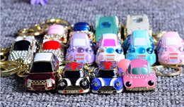 Wholesale Phone Light Charm - Kimter Cute Car Shape Key Ring Bling Crystal Rhinestone Creative Gift Key Chain Cell Phone Car Charm Decoration Pendant 18 Style C6L