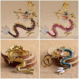 Wholesale Crystal Gifts For Men - Kimter Bling Handmade China Dragon Keychain Handbag Key Ring Crystal Rhinestone Car Key Keyring Best Gift For Man And Women C9L