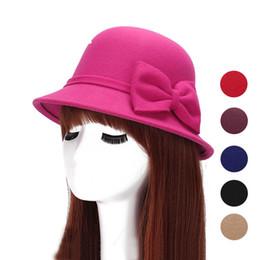 Wholesale Girls Felt Derby Hats - 2017 Fashion Stylish Felt Women's Hats Solid Black Fedoras Hats with Bowknot Retro Vintage Bucket Gorros Chapeau Femme Feutre