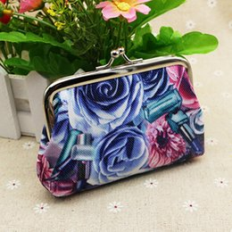 Wholesale Rose Wallets Purses - Wholesale- Rose Flower Canvas Wallet Card Case Coin Purse Clutch Handbag Buckle Mini Bag