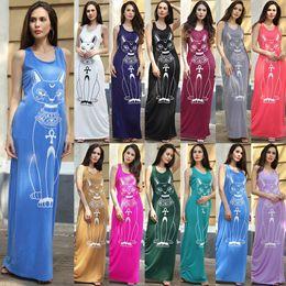 Wholesale Sleeveless Cotton Sundress - Long Summer bodycon maxi Dress Sundress Cat Printed Grey Bodycon Summerstyle Women Dress Plus Size Summer Maxi Dress