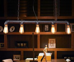 Wholesale Edison Pendants - 2017 new led retro antique coffee bar top pipe lamp Edison e27 droplight with contracted height can be adjusted Restaurant bedroom