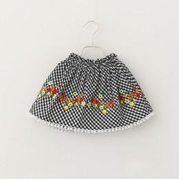 Wholesale Embroider Skirt Vintage - Everweekend Girls Stripe Floral Embroidered Skirt Ruffles Vintage Korea Western Fashion Clothing Princess Party Skirt