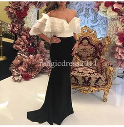 Wholesale Pink Elastic Skirt - 2017 Arabic Kuwait Evening Dresses Mermaid White and Black Off-Shoulder Ruffled Tiered Skirts Long Formal Prom Gowns Dress for Party