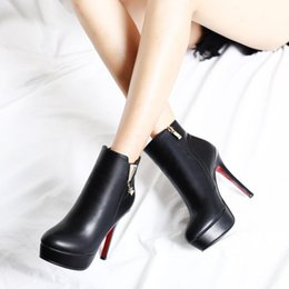 Wholesale Zip Bag Woman Pu - Spring Autumn Stiletto Thin High Heels Pointed Toe Faux Leather Zip Style Sexy Ankle Womens Boots heel bag and buckle Shoe