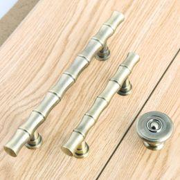 2019 cassetto da 64 mm Maniglie per mobili in bambù stile retrò 64mm 96mm maniglie per porte d'epoca in ottone anticato da cucina cassetto da 64 mm economici