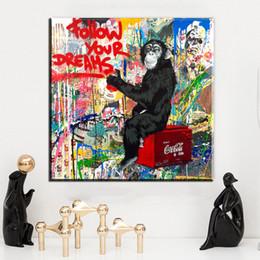 Wholesale Monkey Oil Painting Canvas - ZZ1486 graffiti banksy canvas prints art follow your dream cartoon monkey canvas pictures oil art painting for livingroom bedroom decoration