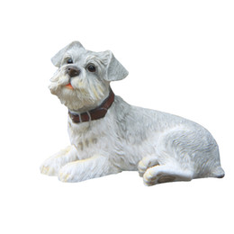 Wholesale Puppy Paintings - Gray Schnauzer Dog Statue Handicraft Design Resin Dog Figurine Lying Puppy Collectible Painted Figurine for Dog Lovers