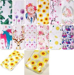 Wholesale Iphone Case Gel Flower - Unicorn Flower Clear Soft TPU Case For Iphone 8 7 6 6S Plus SE 5 5S Dreamcatcher Owl Flamingo Dandelion Silicon Gel Cover Leaves Giraffe