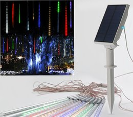 Wholesale Energy Holidays - 10pcs Multi-color Solar energy Meteor Shower Rain Tubes 7V LED Christmas String Lights Wedding Party Garden Outdoor Decoration 35cm