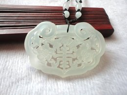 Wholesale Chinese Lock Necklace - Natural XIUYU Jade Pendant Carved Hollow-out Long Life Lock Pendant Necklace Chinese DIY Jade Accessories