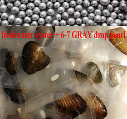 Wholesale Silver Akoya - 10pcs free shipping oyster pearl akoya pearl oyster 6-7mm silver drop water pearl in freshwter oyster with vacuum-packed