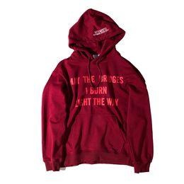 Wholesale I Hip Hop Hoodie - VETEMENTS Brand Hoodie Men MAY THE BRIDGES I BURN LIGHT THE WAY Letters Print Sweashirt New Fashion Hip hop Streetwear Tracksuit M106