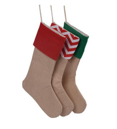 Wholesale Christmas Socks Decorations - New High Quality Canvas Christmas Stocking Gift Bags Xmas Stocking Christmas Decorative Socks Bags 12*18inch TOP1947
