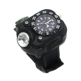 Wholesale Led Flashlight Shock - Rechargeable CREE LED Wrist Mechanical Watch Flashlight Outdoor Sports Torch Lamp WristLight with Compass