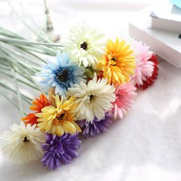 Wholesale Gerbera Fake Flowers - Gerbera Sunflower Artificial Hydrangea Flower Fake Silk Flowers For Wedding Flowers Home Party Decorative Flowers Plant Shipping By DHL